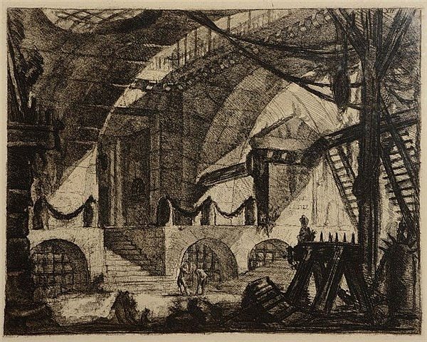 GIOVANNI BATTITA PIRANESI The Sawhorse, etching, plate XII from 'Carce