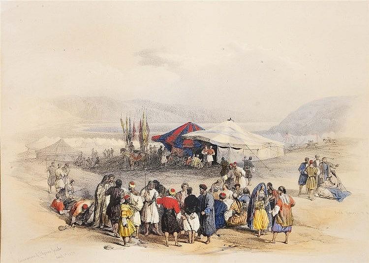 DAVID ROBERTS 'Encampment of Pilgrims, Jericho', 1839, hand tinted lit
