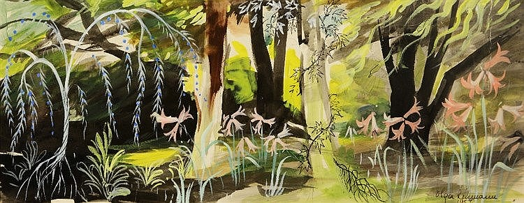 OLGA LEHMANN (1912-2001) An enchanted woodland, signed and dated 1957,