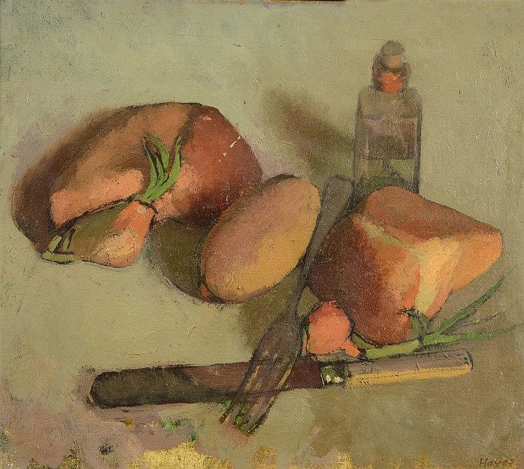 COLIN HAYES (1919-2003) Still life - Food and cutlery upon a covered s