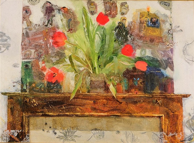 MARK SHIELDS Mantelpiece, signed and dated '62, oils on canvas, 65.5 x