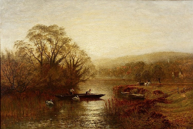 CHARLES LAW COPPARD (1836-1900) River landscape in evening light, with