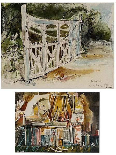 TOM GAMBLE (20TH CENTURY) 'Ruined Barn, Loire, France', signed, waterc