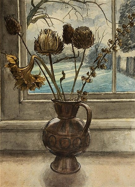 RICHARD BAWDEN (b. 1936) Still life - an earthenware jug of flowers by