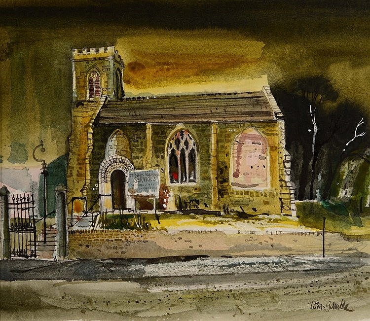 TOM GAMBLE (20TH CENTURY) 'St. Denys, Walmgate, York', signed, waterco