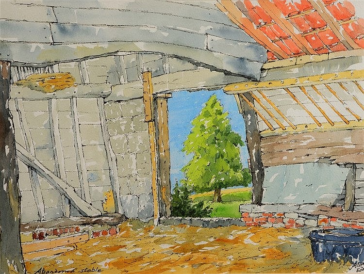 ALAN EADE 'Abandoned Stable', signed, inscribed with title, pen, ink a