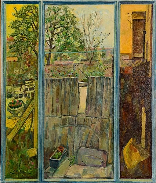 PETER FOXHALL View from a window, signed, oils on canvas, 66 x 56cm