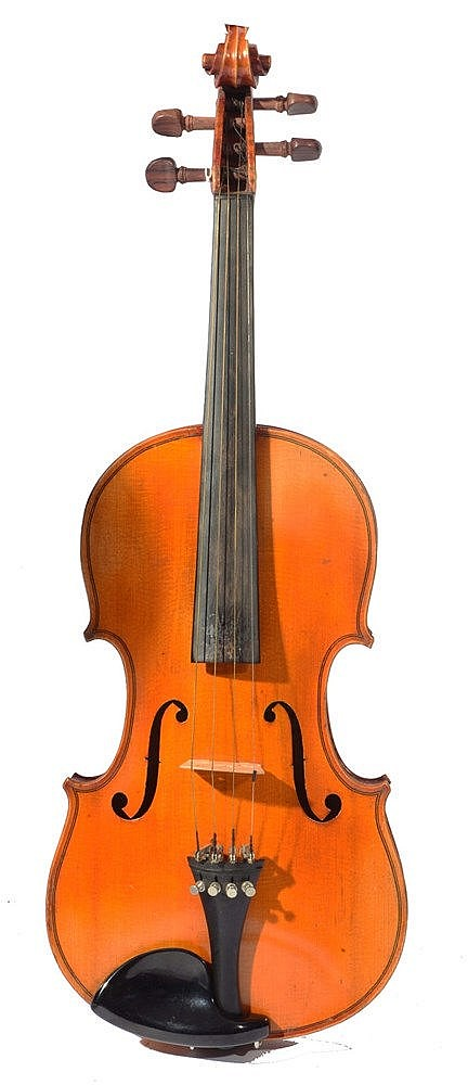 A FRENCH VIOLIN, MIRECOURT SCHOOL CIRCA 1910 with two piece back, and