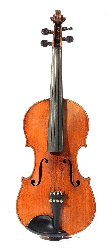 A LATE 19TH CENTURY GERMAN VIOLIN with two piece back, cased.
