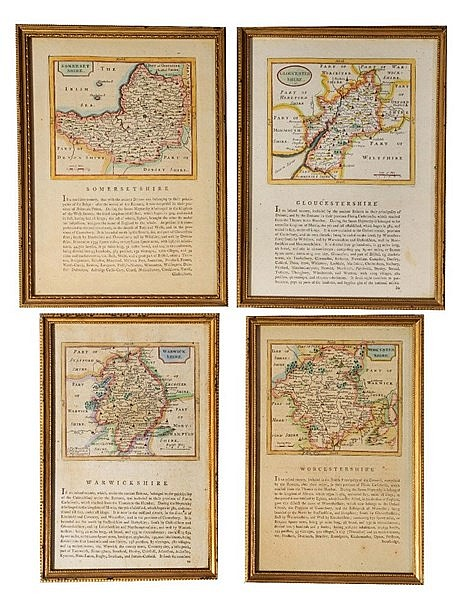 A GROUP OF FOUR 18TH CENTURY ENGRAVED MAPS - 'Worcestershire', 'Warwic