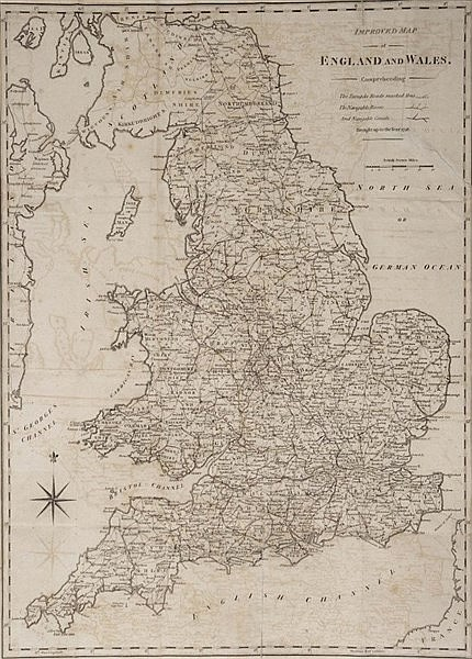 AN 'IMPROVED MAP OF ENGLAND AND WALES' engraving dated 1798, 58 x 44 c