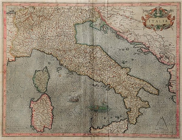 GERARD MERCATOR 'Italia', double page engraved map with decorative tit