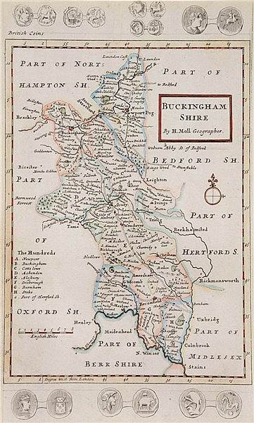 H. MOLL A map of Buckinghamshire, hand coloured, 30 x 20.5 cm.