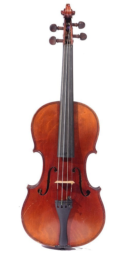 A THREE QUARTER SIZED VIOLIN with single piece back together with bow, in a