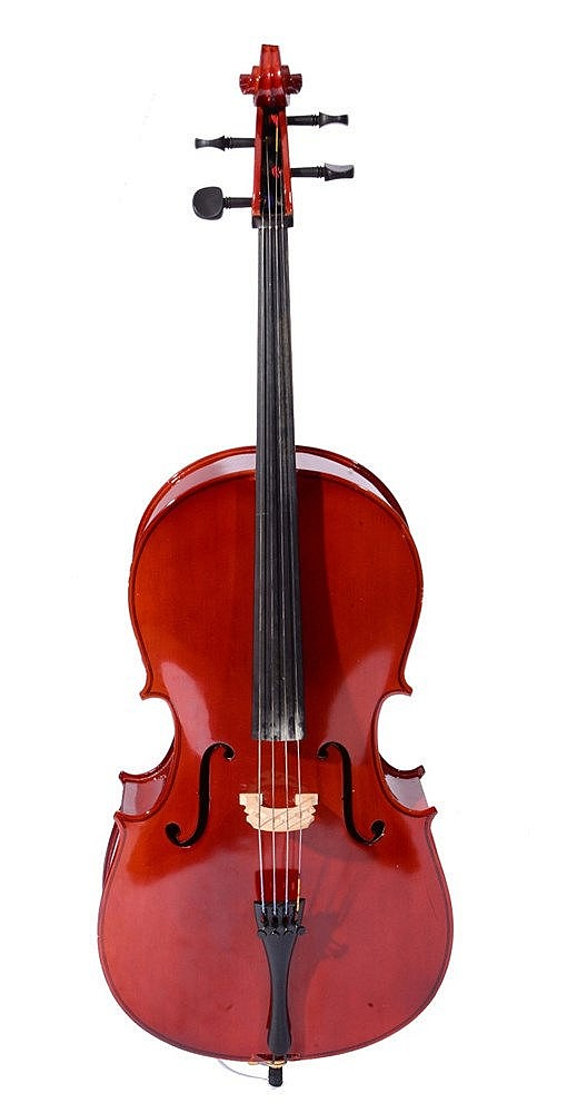A 'GEAR 4 MUSIC' HALF SIZED CELLO together with bow in fitted velvet lined