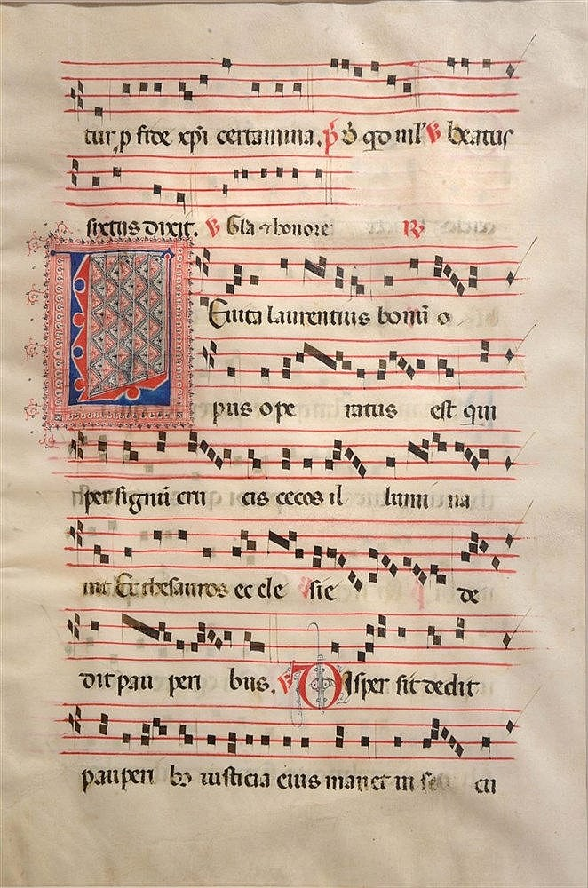 AN OLD ANTIPHONAL LEAF written with eight staves of music in red and black
