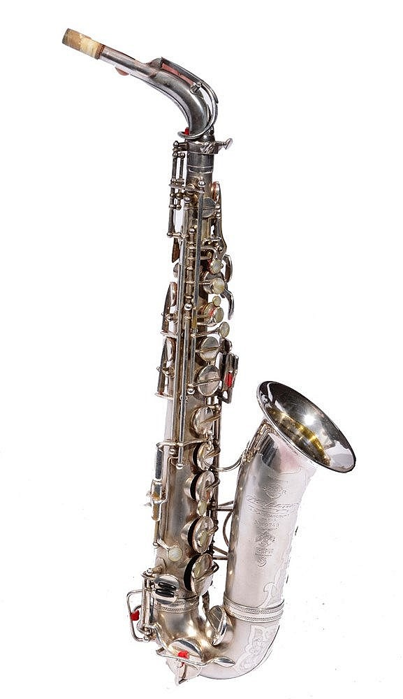 A SELMER SILVER PLATED ALTO SAXOPHONE, the engraved bell with serial number