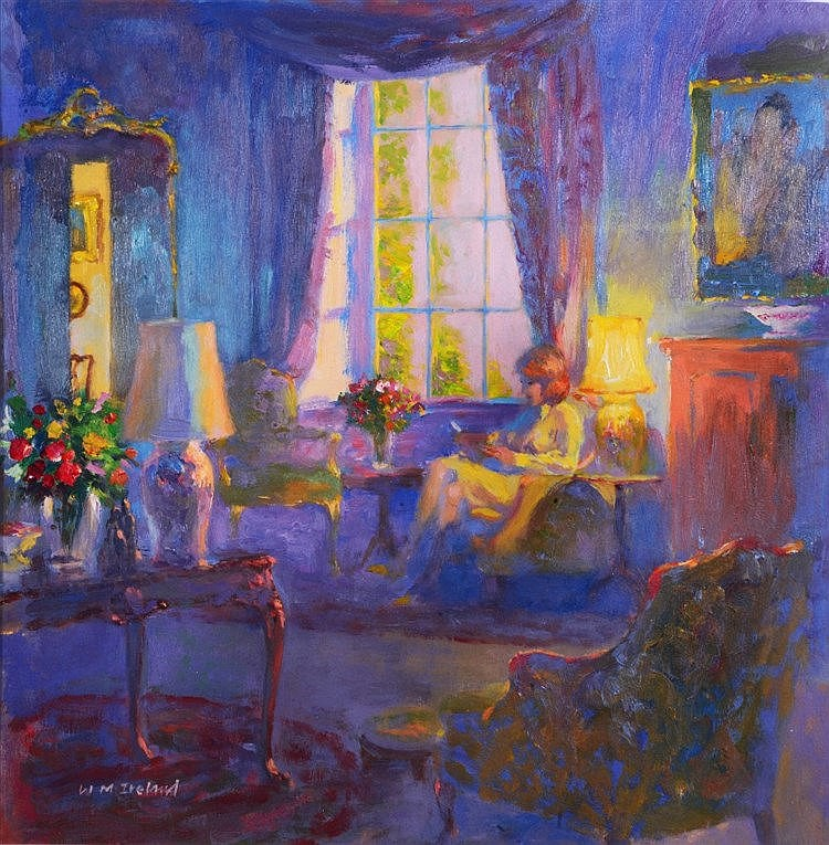 WILLIAM IRELAND  Interior - Blue Shadows, signed, oils on board, 33 x