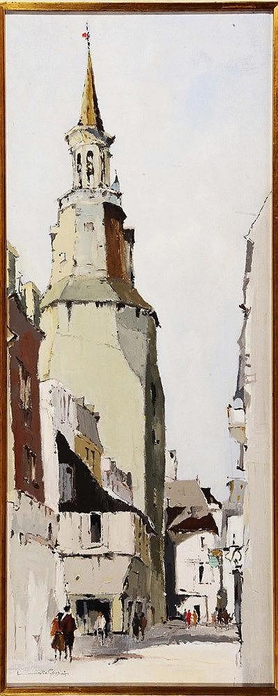 LESLIE GOODWIN (b.1929) Figures in a street, Bruges, signed, oils on c