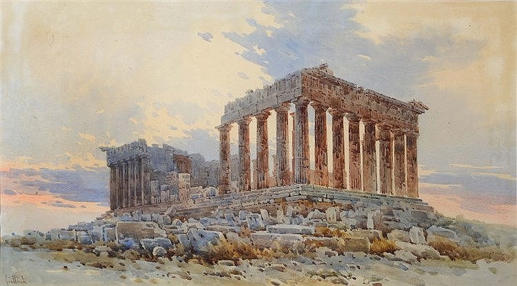 CIRCLE OF ANGELOS GIALLINA (1857-1937) The Parthenon, Greece, signed,
