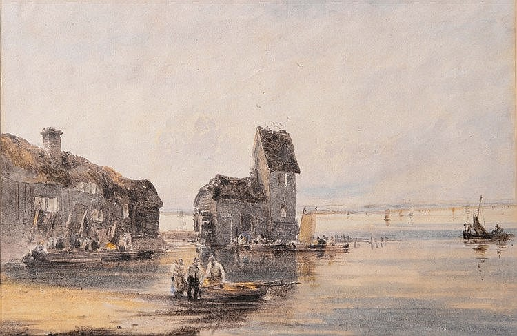 ATTRIBUTED TO DAVID COX (1783-1859) 'Old Watermill, Christchurch', wat