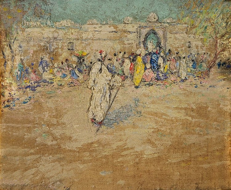 20TH CENTURY SCHOOL Arab street scene with figures before a temple, in