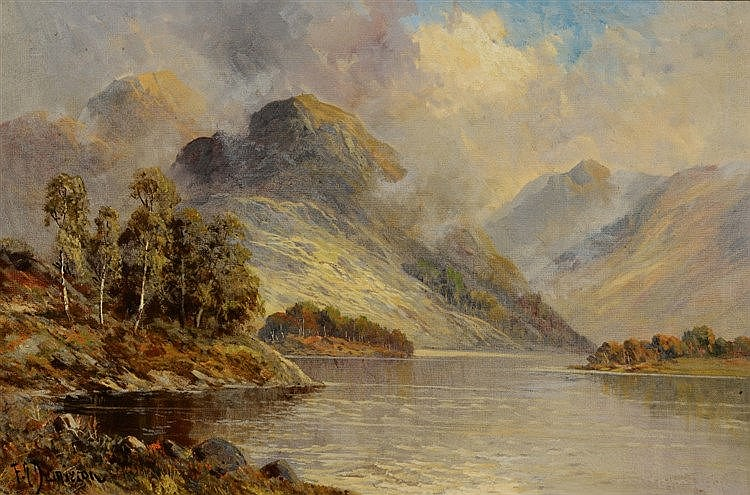 FRANCIS E. JAMIESON (1895-1950) Mountainous loch view, signed, oils on