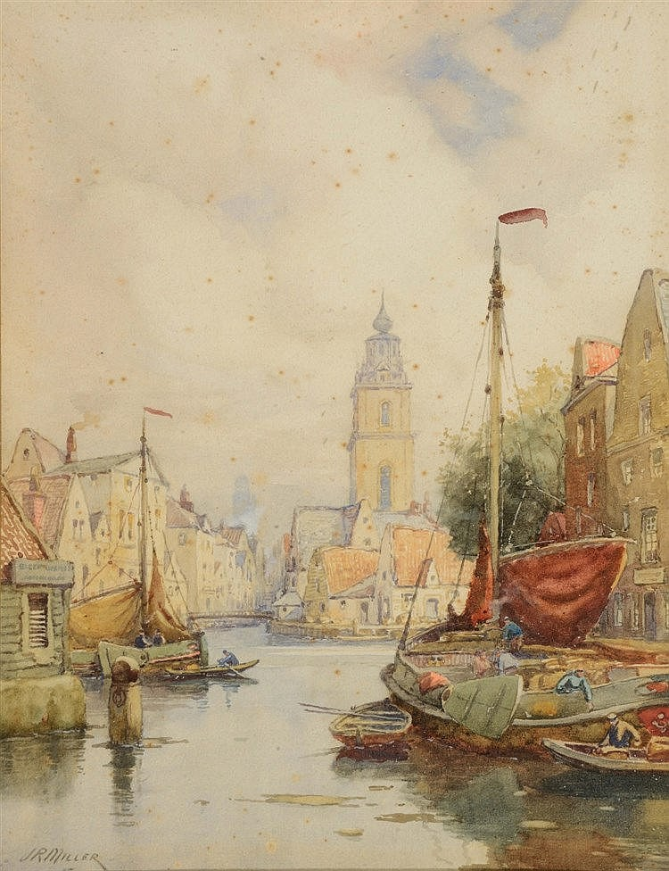 J.R. MILLER Amsterdam, signed, watercolour, 36 x 25.5cm