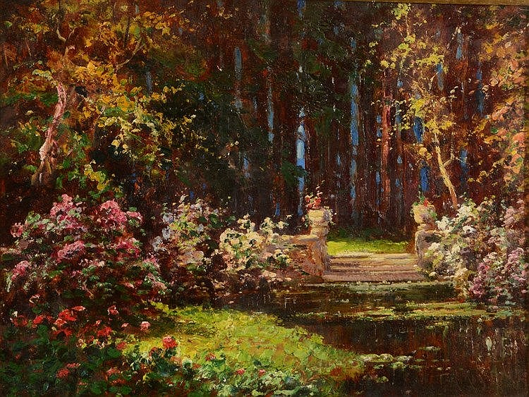 TOM MOSTYN (1864-1930) A woodland garden, signed 'Tom Moyston', oils o