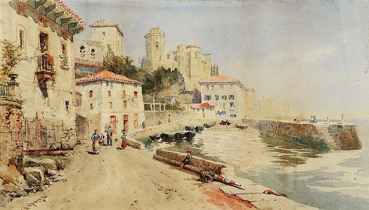 WALTER BROOKES SPONG (1851-1929) Figures on a continental quayside, si