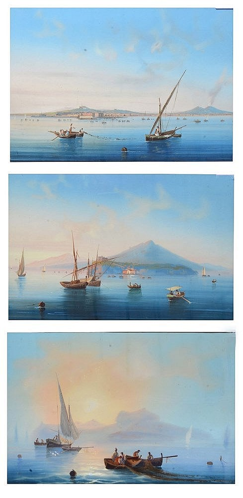 ITALIAN SCHOOL, (LATE 19TH C). Fishing boats in the Bay of Naples, gou