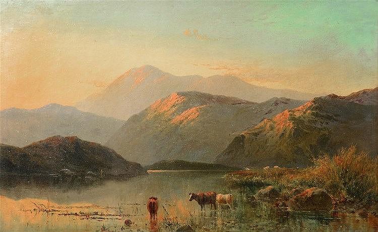 ALFRED DE BREANSKI (1852-1928) Cattle watering in a highland landscape