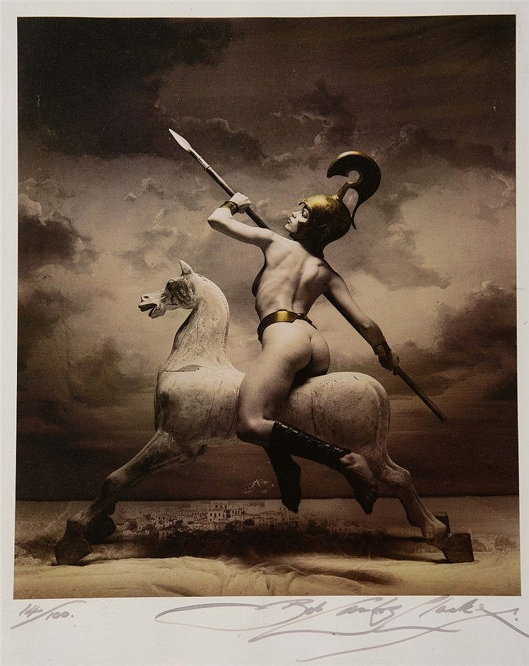 AFTER BOB CARLOS CLARKE Warrior on Horseback, photographic print, sign