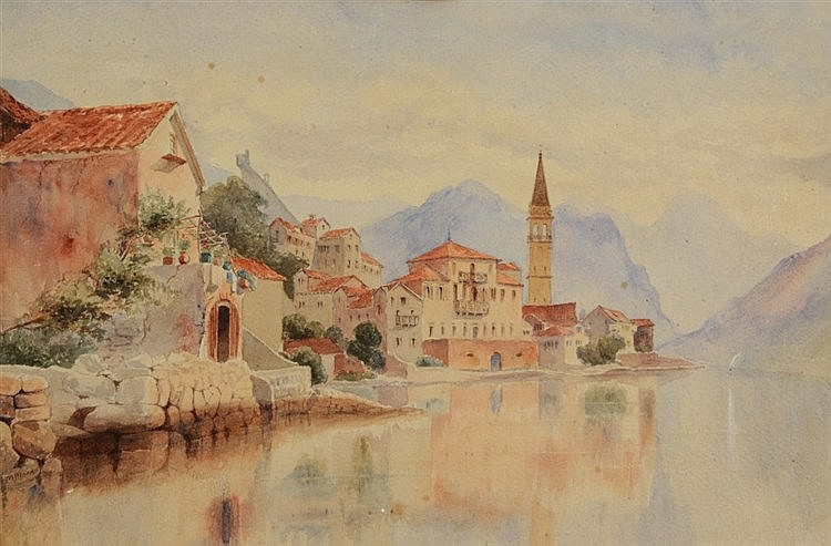 M MOORE (19TH CENTURY) 'Waldersee', signed, watercolour, 28 x 43cm