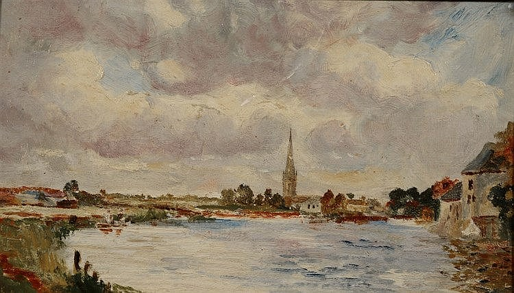 ENGLISH SCHOOL (EARLY 20TH CENTURY) River landscape with distant churc