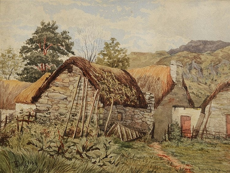 WILLIAM DALGLISH (1860 - 1909) 'Rashfield, Kilmun', a thatched croft,