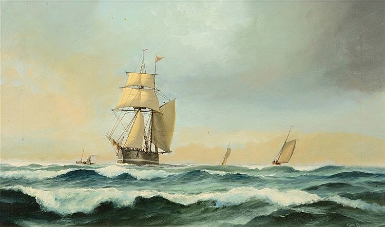 GEORGE BRETT (20TH CENTURY) Ships in full sail, signed, oils on canvas