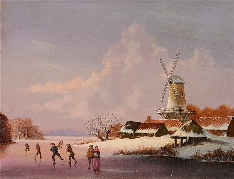 DUTCH SCHOOL (20TH CENTURY) Skaters on a frozen river by a windmill, o