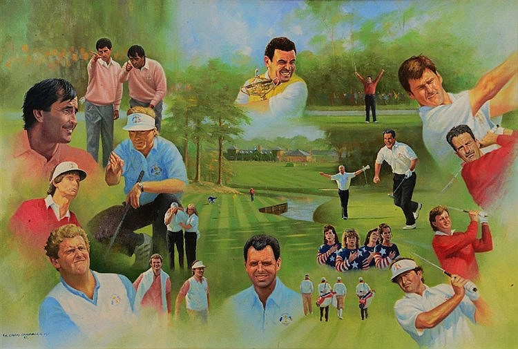 CRAIG CAMPBELL (b.1960) 'The Ryder Cup;, signed and dated '93, oils on