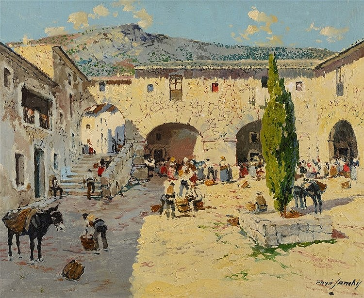 FRANCISCO PAYA SANCHIS (1892 - 1977) 'Dia De Mercado Olocau (Valencia)