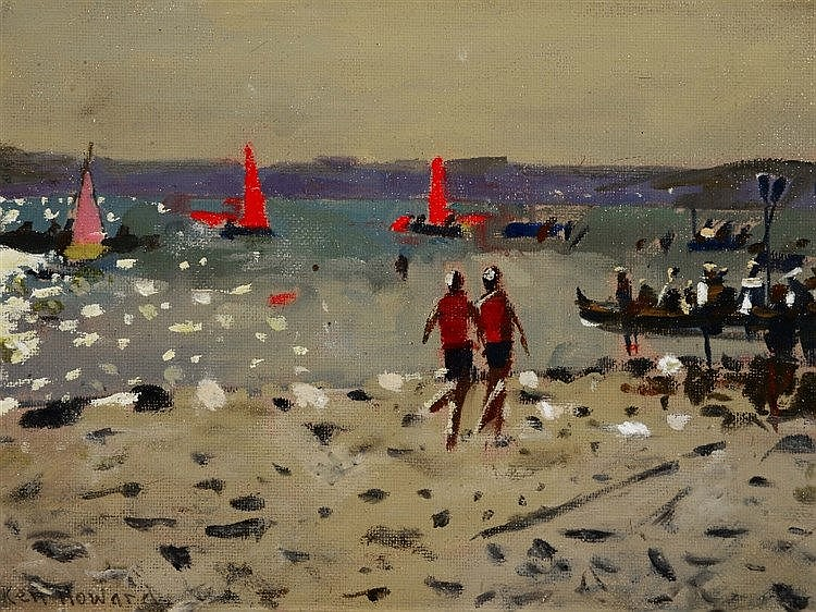 KEN HOWARD (b.1932) 'Cornish Regatta', signed, oils on canvas board, 1
