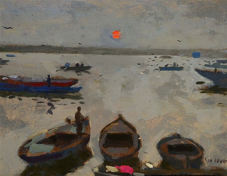 KEN HOWARD (b.1932) 'Sunrise from Mandir Ghat Varanasi', signed, oils