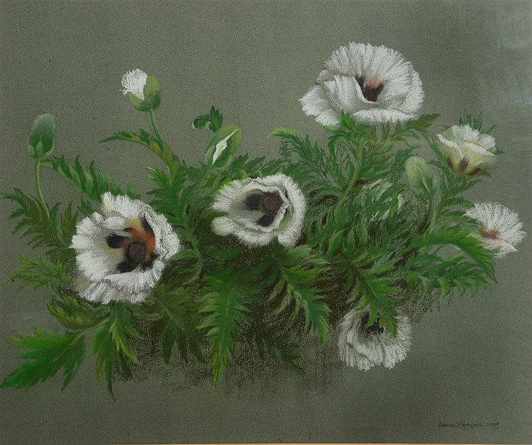 DAWN COOKSON (1925 - 2005) 'White Poppies', signed and dated 1989, pas