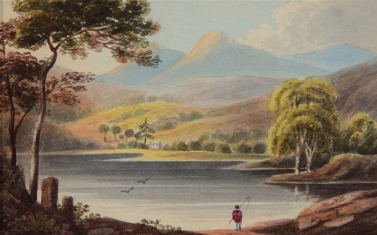 HARRIET BERRISFORD (1788 - 1860) 'Elterwater', watercolour, 8.5 x 13cm
