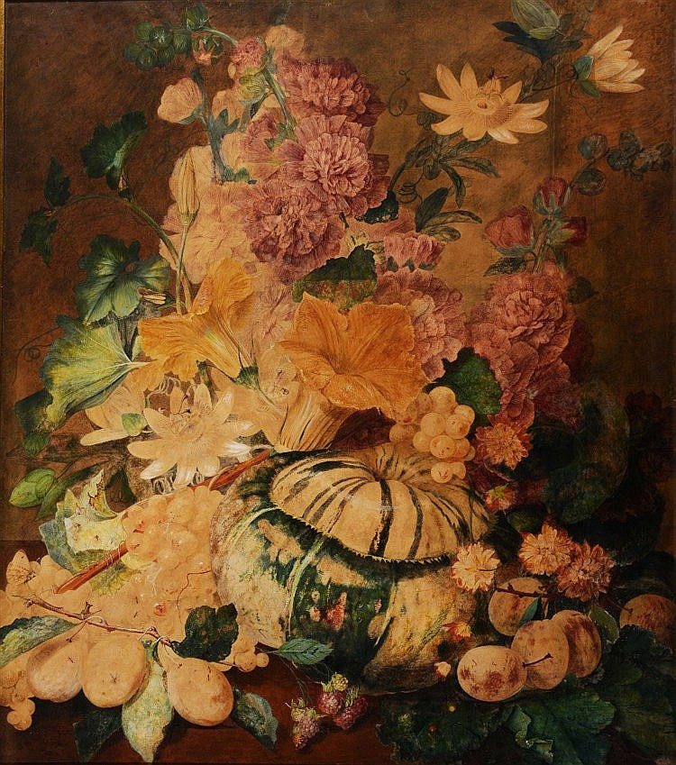 JAMES SILLETT (1764 - 1840) Still life, an abundance of flowers and fr