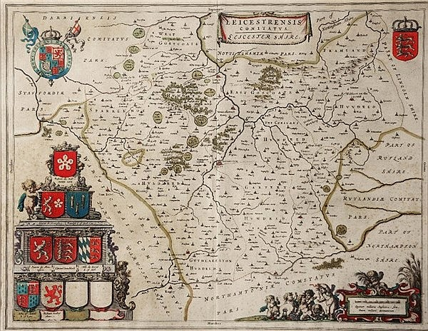 BLAEU 'Leicestrensis Comitatus' double page engraved map with hand col