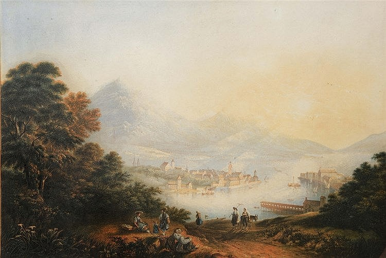 A BAXTER PRINT AFTER TURNER View of Lake Lucerne, and four other assor