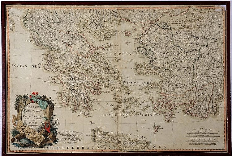 L.S. DE LA ROCHETE a map of Greece, Archipelago and part of Anadoli, h