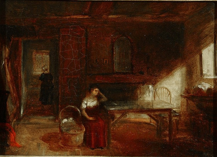 CIRCLE OF THOMAS FAED (1826-1900) Interior with mother seated at a tab