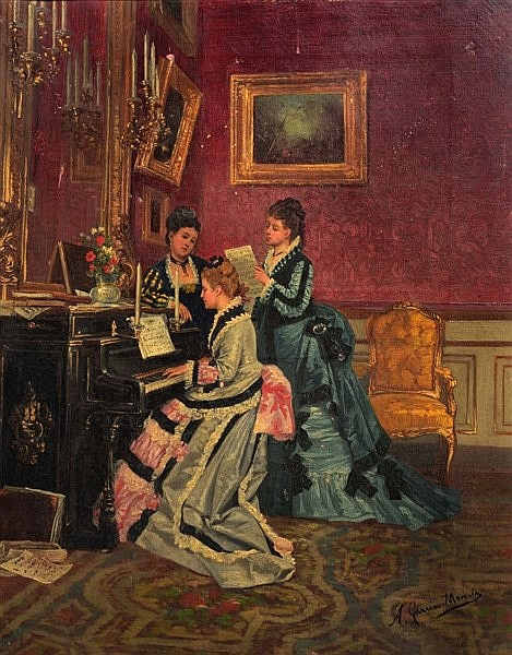ANTONIA GARCIA MENCIA (1853-1915) The Piano Recital, signed, oil on c